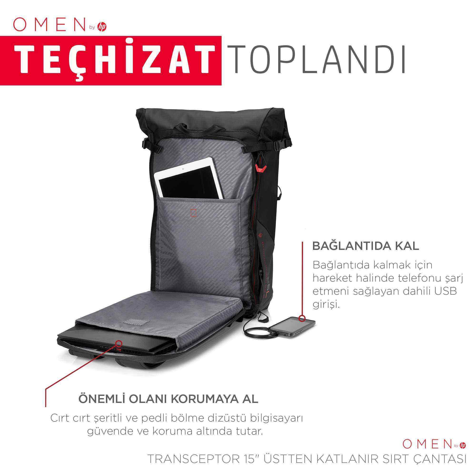 OMEN Transceptor Rolltop 15.6 inç Gaming Bilgisayar Sırt Çantası 25L - Siyah