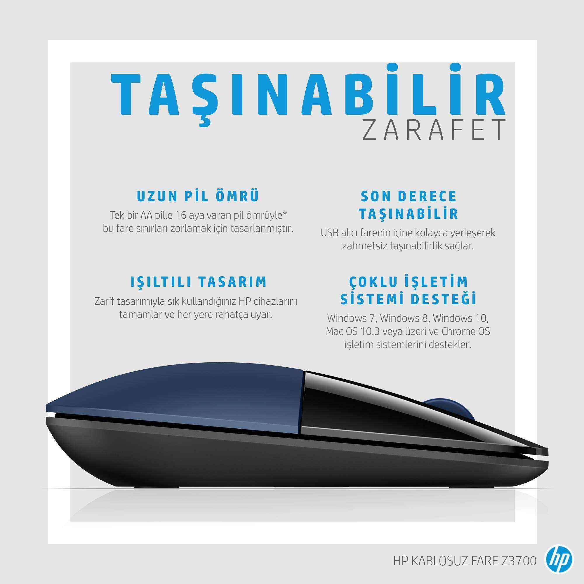 HP Z3700 Kablosuz İnce & Hafif Mouse - Siyah & Mavi